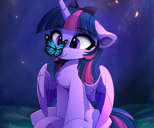 butterfly, night, and twilight sparkle image