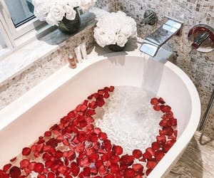 flowers, bath, and bathroom image