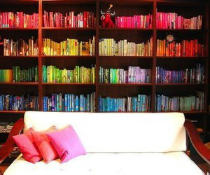bed, colors, and books image