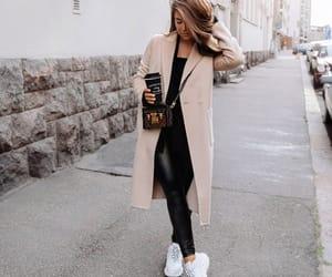 bag, coat, and coffee image