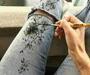 flowers, jeans, and art image