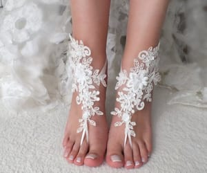 wedding shoes, wedding sandals, and foot jewelry image