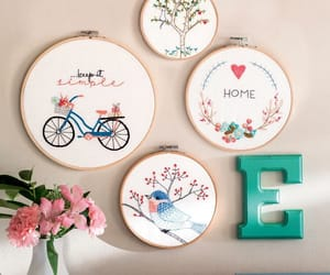 bicycle, bird, and embroidery image