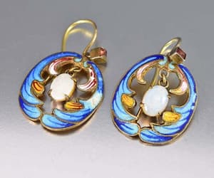 earrings, enamel, and intage image