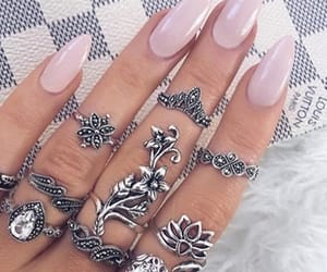 rings, nails, and pink image
