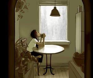 rain, coffee, and art image