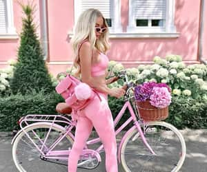 girls, bike, and pink lover image