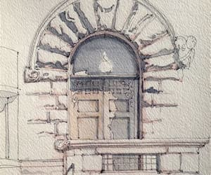 architecture, watercolor, and background image