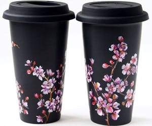 black, flowers, and coffee image