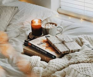 books, candle, and home image