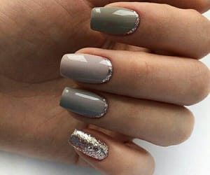 glitter, nails design, and grey image