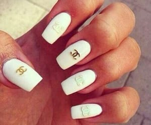 chanel, nail design, and white with gold image