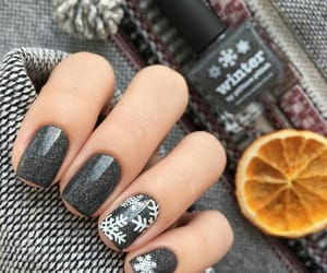 snowflake, grey with glitter, and nail design image