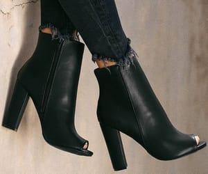 black leather, fashion, and black shoes image