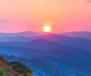 sunset, landscape, and mountains image