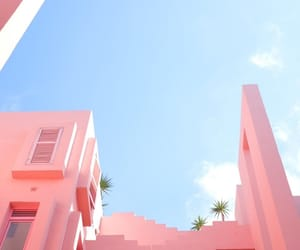 pink, sky, and building image
