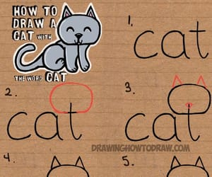 cat, draw, and step by step image