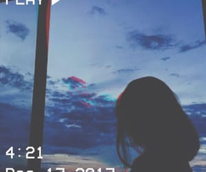 sky, girl, and blue image