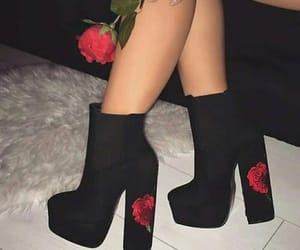 black heels, red roses, and roses image