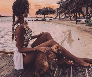 beach, cat, and girl image
