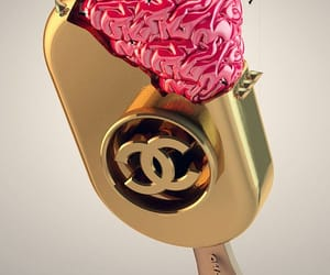 chanel, gold, and brain image