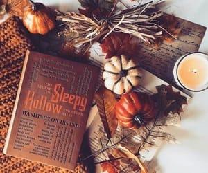 autumn, pumpkin, and book image