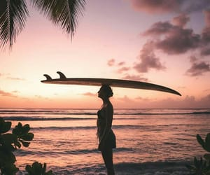 summer, sunset, and surf image
