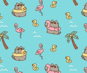background, pattern, and pusheen image