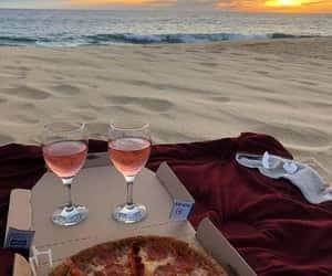 pizza, beach, and wine image