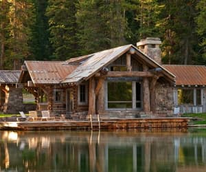 cabin, house, and forest image