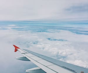 blue, plane, and clouds image