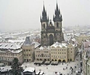 winter, prague, and snow image