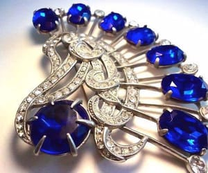 special occasion, blue rhinestones, and art deco brooch image