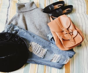 autumn, backpack, and boyfriend jeans image
