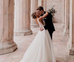 hug, kiss, and wedding image