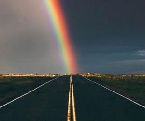 rainbow and road image