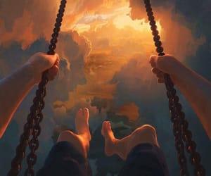 art, sky, and swing image