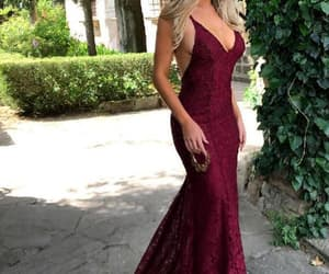 burgundy prom dress, lace prom dress, and mermaid prom dress image
