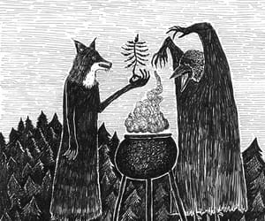 magic, raven, and witch image