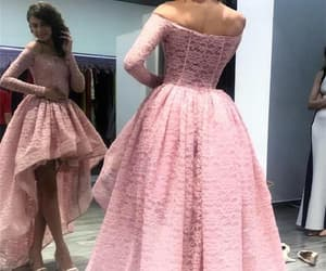 prom dresses with sleeves, lace prom dresses, and high low party dress image