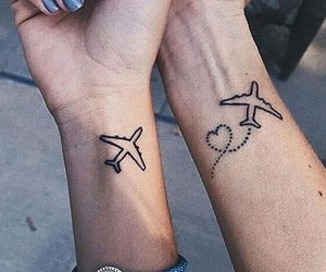 tattoo, plane, and heart image