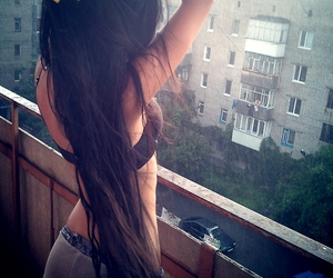ass, brunette, and buildings image