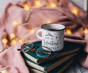 coffee, book, and lights image