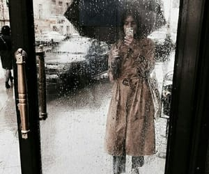 fashion, rain, and autumn image