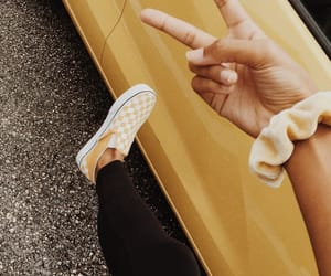 yellow, vans, and scrunchie image