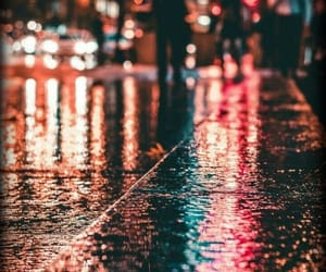 city, colors, and rain image