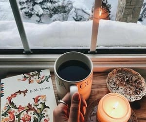snow, coffee, and winter image