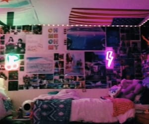 bed, cool room, and decorations image