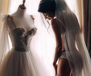 wedding dress, wedding, and beauty image