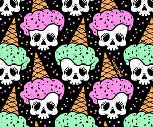 background, ice cream, and skull image